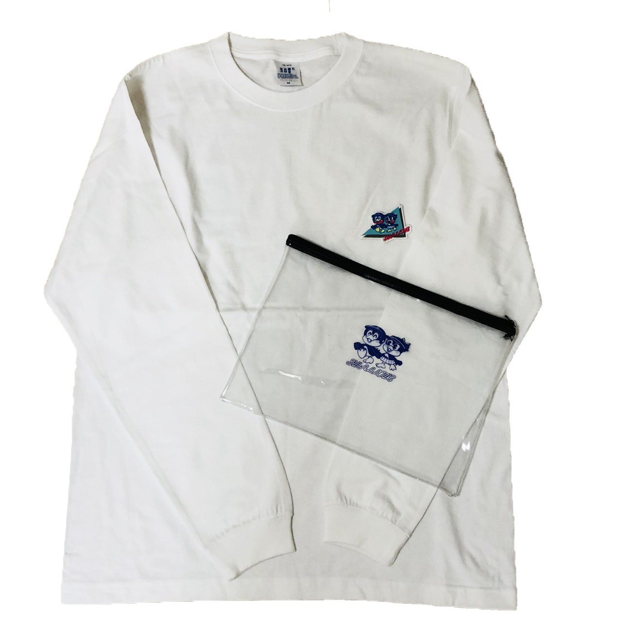 80年代つば九郎&つばみPVCポーチ入り刺繍Tシャツ(お散歩)