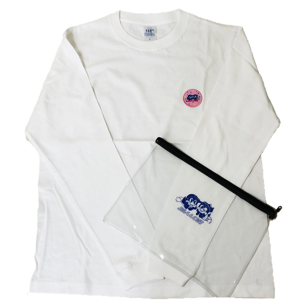 80年代つば九郎&つばみPVCポーチ入り刺繍Tシャツ(寝そべり)