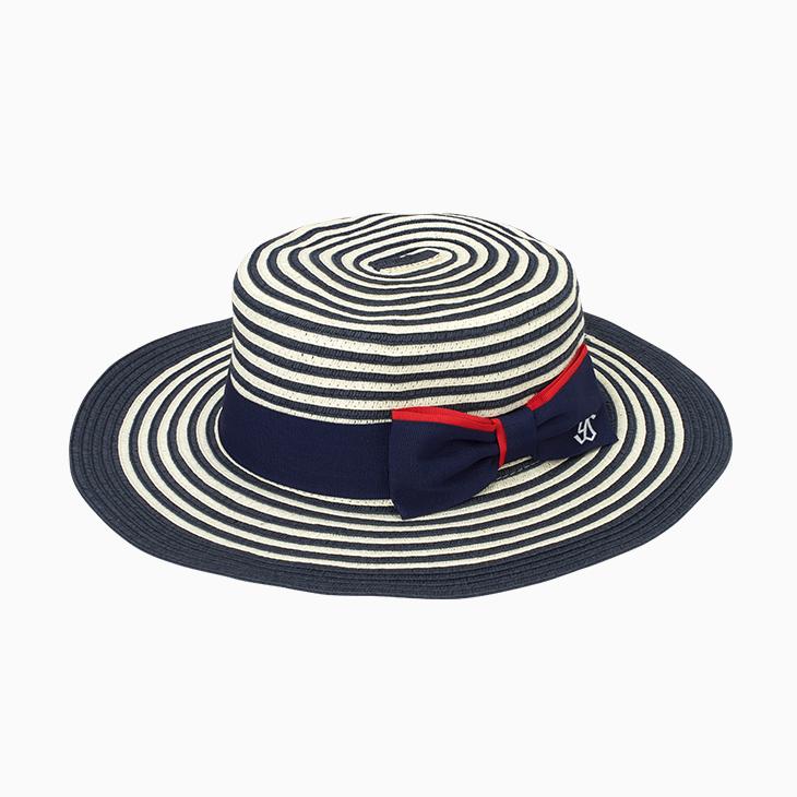 カンカン帽子(ネイビー×ホワイト)