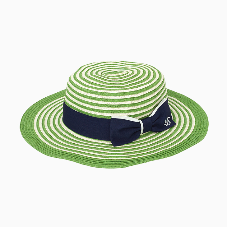 カンカン帽子(グリーン×ホワイト)