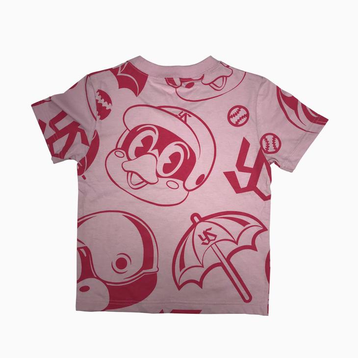 つば九郎総柄KidsTシャツ(ピンク)