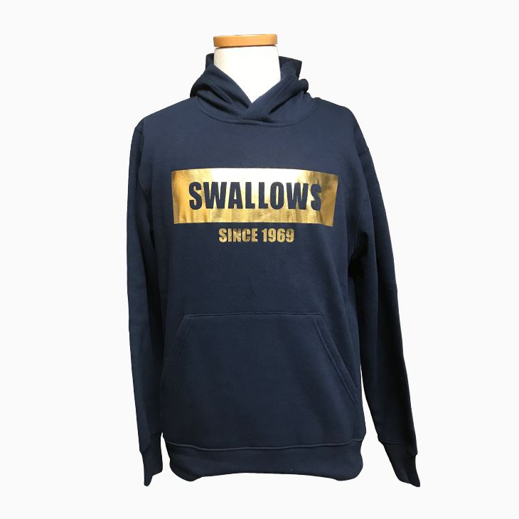 SwallowsゴールドBOXロゴ裏起毛パーカー